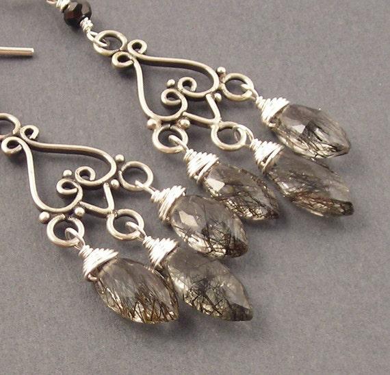 Long Shadows, Tourmalinated Quartz, Sterling Silver Earrings, Chandelier Earrings, erinelizabeth
