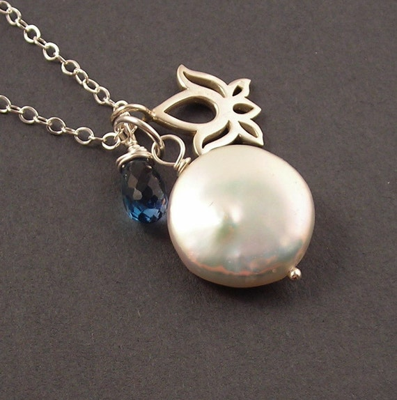 Inner Peace, London Blue Topaz, White Coin Pearl, Sterling Silver Necklace, December Birthday, erinelizabeth