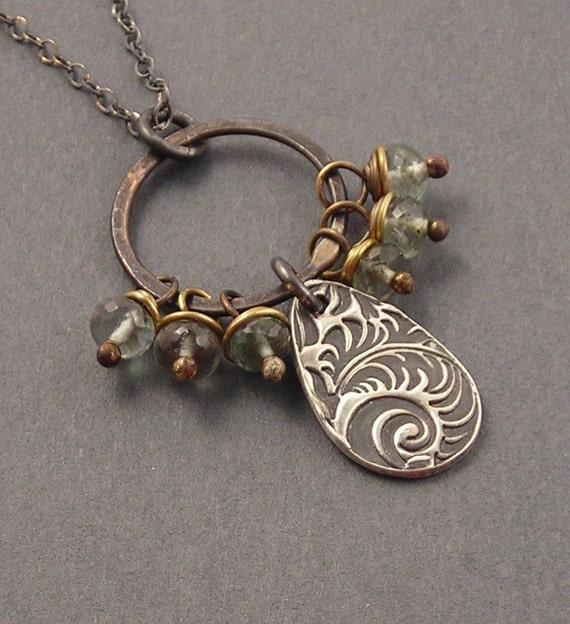 SALE - Swell, Moss Aquamarine, Oxidized Copper, Brass, Fine Silver Pendant, Oxidized Sterling Silver Necklace, Mixed Metal, erinelizabeth