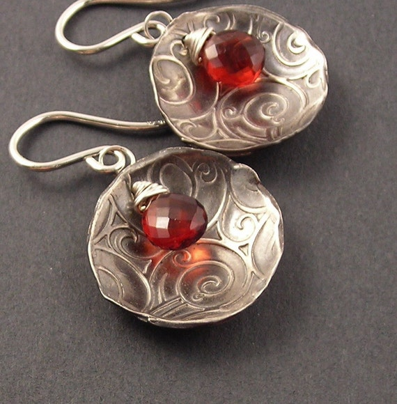 Smoke and Fire, Red Garnet, Fine Silver, Sterling Silver Earrings, erinelizabeth