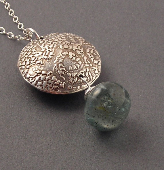 Global, Moss Aquamarine, Fine Silver, Sterling Silver Necklace, erinelizabeth
