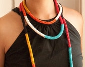 Cord Necklace - Knit color block cord necklace - long loop - modern block - Bold color