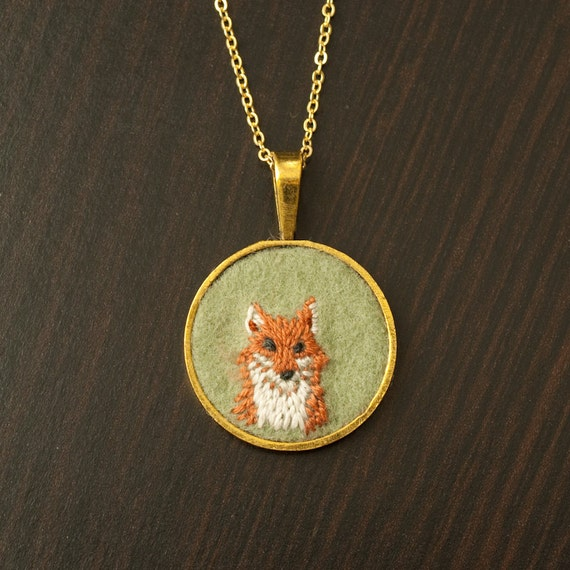 Fox Embroidered Felt Necklace