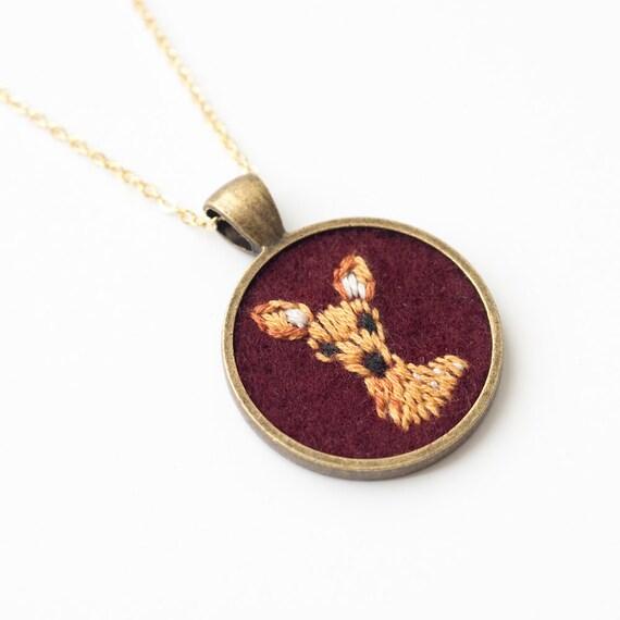 Embroidered Deer Necklace