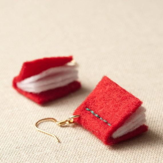 Book Earrings - Red Felt - Writers - Eco - Vegan - Librarian - Nerd