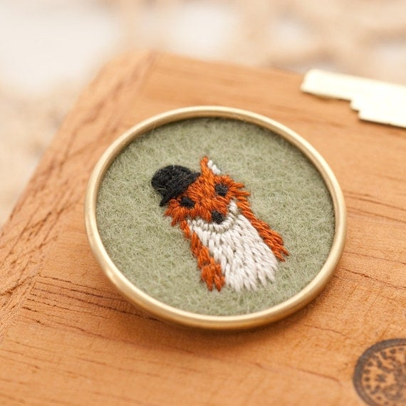 Mr. Bates Fox Embroidered Brooch with Bowler Hat