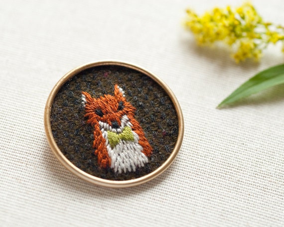 Embroidered Fox Brooch with Bow Tie