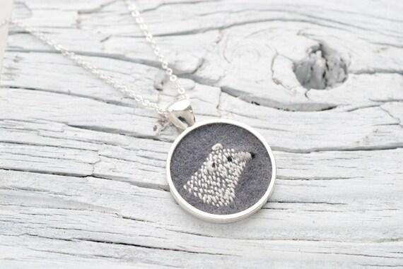 Polar Bear Embroidered Felt Necklace