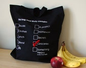 Cotton Tote - This bag most likely contains... with Checkmark pin (black/red)