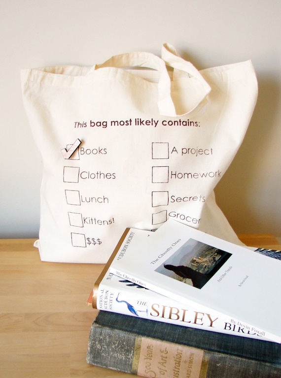 Cotton Tote - This bag most likely contains... with Checkmark pin (natural/wood)