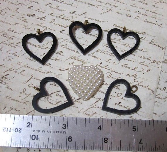 Vintage Plastic Heart Charms lot of 6 black and pearl