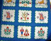Cute unusual blue and white dutch or german print vintage fabric 18w x 33l inches