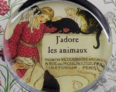 Vintage French Veterinarian Glass Round Paperweight