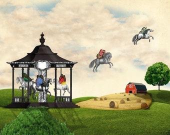 Carousel Americana winged horse print tartx