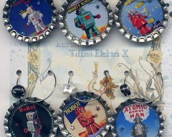 Vintage Robot wine beer and drink charms