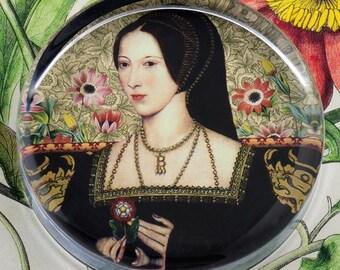 Anne Boleyn Glass Round Paperweight tartx