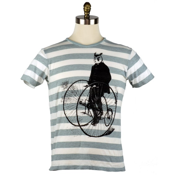 SALE Gentleman Owl on a Bicycle Men's T-shirt 2XL