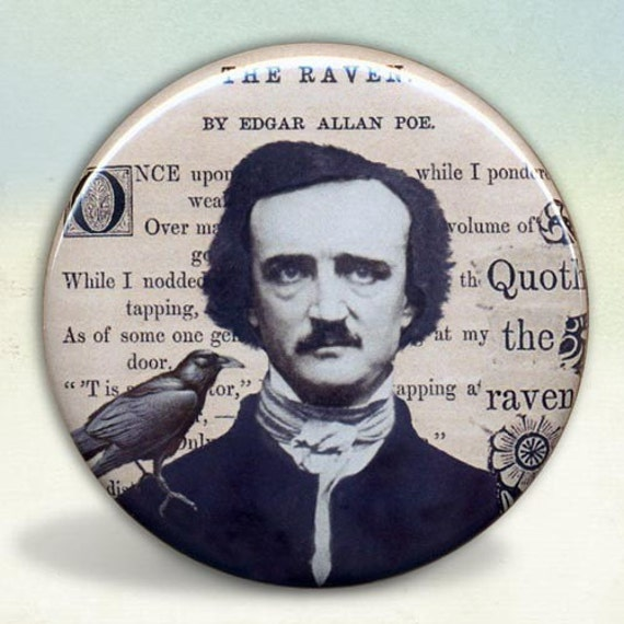 Edgar Allan Poe  and Raven collage Pocket Mirror