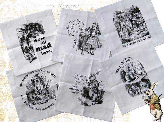 Alice in Wonderland Cocktail Napkins set of 6  Tartx