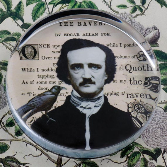 Edgar A. Poe and The Raven Glass Round Paperweight tartx