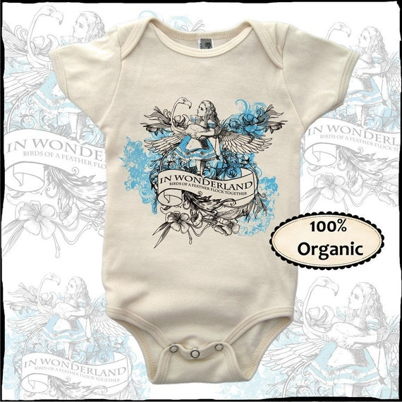 Alice and Flamingo in Wonderland baby organic baby infant one piece