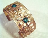 Vintage GOLD FLORAL BRACELET / Mod 60s Costume Jewelry Cuff / Metal and Rhinestone