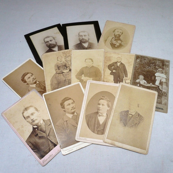 Vintage ANTIQUE PHOTO CARDS / Lot of 12 Cards / Early 1900s