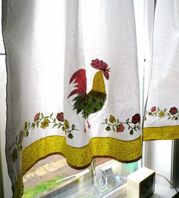 VINTAGE KITCHEN CURTAINS / Retro Handmade Applique Rooster
