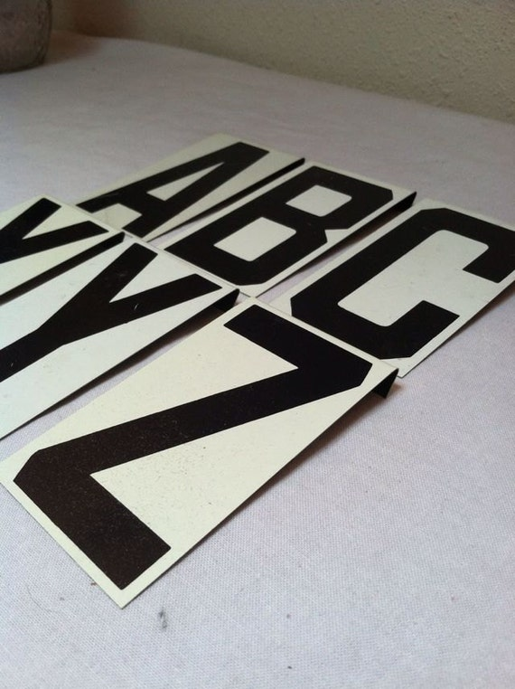 Set of 6 Vintage UNITYPE METAL LETTERS of Your Choice / Old Black and White Hanging Reader Board Sign Digits