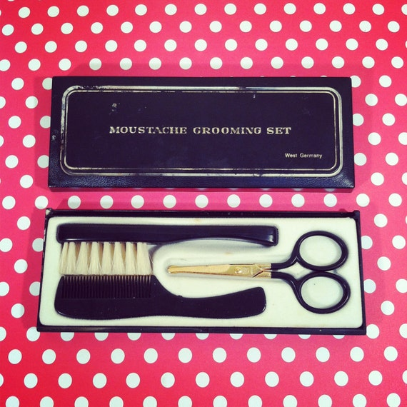 Mr Hipster MOUSTACHE GROOMING KIT / Vintage Scissors Brush and Comb Set / West Germany