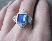 Silver Sapphire Filigree Ring