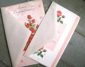 Vintage Floral Wedding Cards - Lot of 2