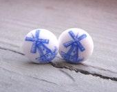 Delft Blue Vintage Glass Windmill Earrings
