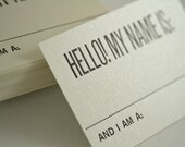 Hello My Name Is - Retro Style Letterpress Graphic Design Nametags - Set of 30