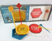 SALE Vintage RARE Space Age Mod Party Sophistikits Novelty Traffic Sign Series Bar Drinking Set with Original Box