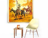 SALE Sunshine Yellow Orange Mid Century Horse and Rider Oil Painting in Original Yellow Frame