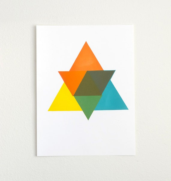 "Star of Triangles Spectrum Letterpress Print - 15"" by 20"" Linoleum Cut - Color Theory - Limited Edition of 20"