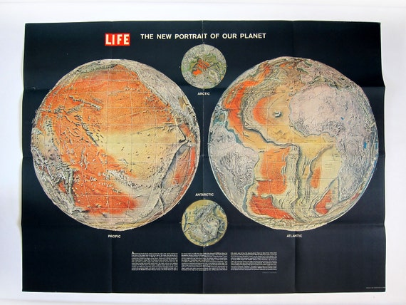 Vintage GIGANTIC 1960 Time LIFE Magazine The New Portrait of Our Planet Lithograph Infographic Poster Print