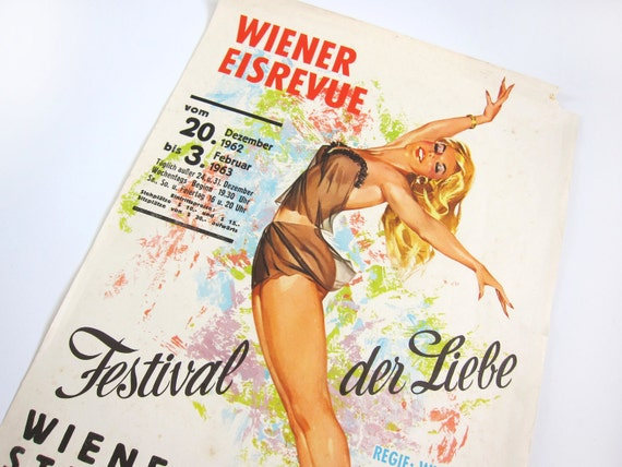 Vintage Mid Century 1963 Pin-Up Beautiful Girl Vienna Ice Review Lithograph Poster Print