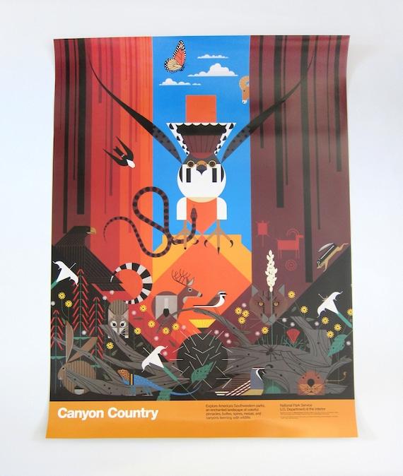 Vintage HUGE Charles Charley Harper National Parks Service Poster - Canyon Country