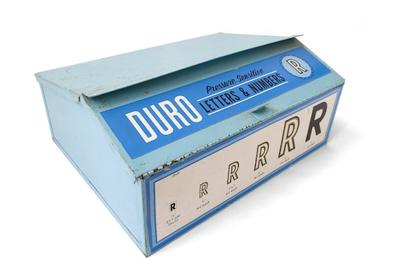 Reserved for Lisa - Vintage Duro Decals Steel Storage Box - Letters & Numbers Store Display - Mid-Century Typography and Lettering