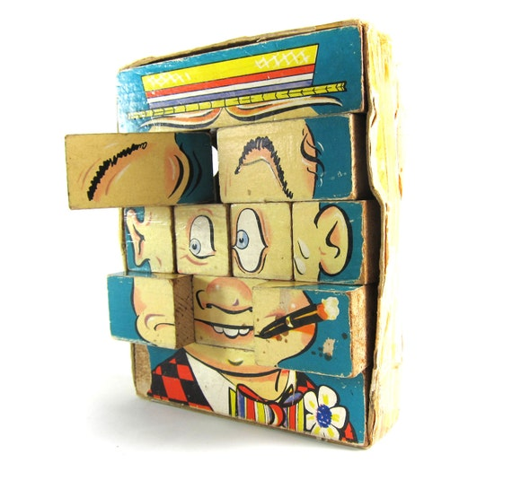 1940s Changeable Charlie Jumble Toy Wood Block Cartoon Faces Puzzle