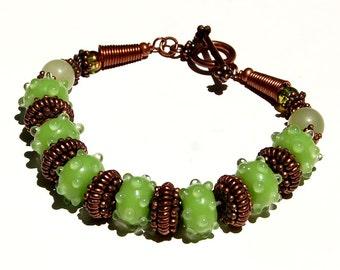 Copper and Green Lampwork Bracelet (Dewdrops on Aloe)