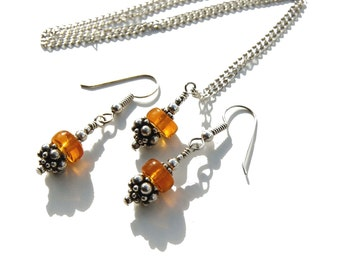 Thin Chain Necklace Earring Set - Amber and Bali Sterling Jewelry