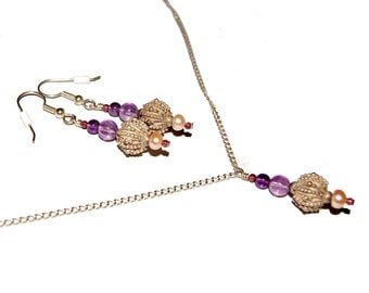 Sterling Silver Sea Urchin Bead with Amethyst, garnet, and pearl jewelry set (Bahtia)