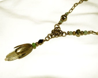 Brass Vintage Necklace - Unakite, Pyrite, Variscite, Aventurine, Lemon Quartz