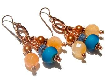 Blue and Orange Dangle Earrings,  Carnelian Earrings, Kyanite Earrings, Pearl Earrings, Copper Earrings, Artisan Glass, Beaded Earrings