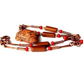 Indigenous Tribal Wood, Ceramic, & Oxidized Copper Link Necklace (Medicine Man)