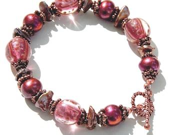 Pink Pearl Bracelet, Freshwater Pearls and Lampwork Bracelet ; Pink Beaded Bracelet