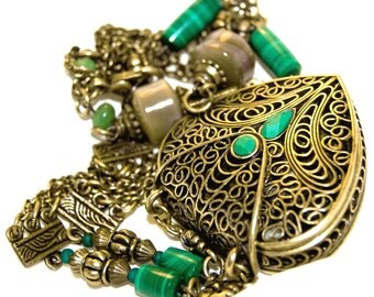 Large Detailed Brass Heart Locket Necklace with Genuine Gemstones